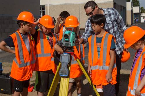 Survey team meets with La Costa Height interns to evaluate topography on campus