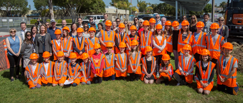 Group photo at groundbreaking event at Flora Vista Elementary