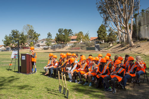 Groundbreaking ceremony on the field at La Costa Heights